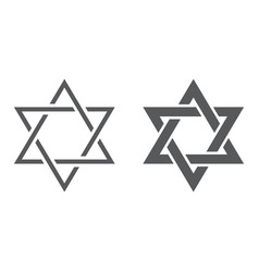 star david line and glyph icon israel and vector image
