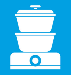 Steamer icon white vector