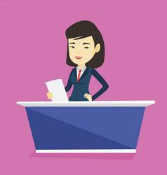 Television anchorwoman at studio vector