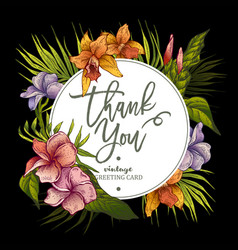the greeting card with tropical flowers vector image