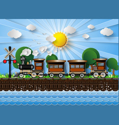 Train on a background of sunshine vector
