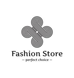 Trendy elegant looped logo black and white vector