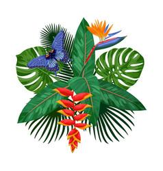 Tropical bouquet postcard template vector