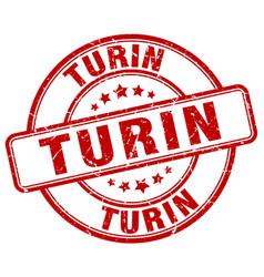 Turin red grunge round vintage rubber stamp vector
