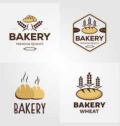 vintage bakery logo set design vector image