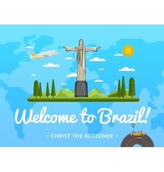 Welcome to Brazil poster with famous attraction vector
