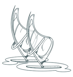 Windsurfers logo outline drawings for coloring vector
