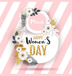 Womens day poster with full blossom flowers vector