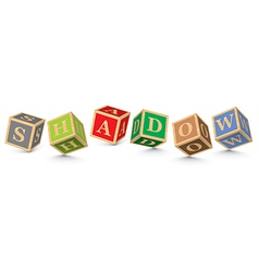 Word SHADOW written with alphabet blocks vector image