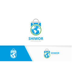 world and shop logo combination earth and vector image