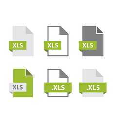 xls files document icon set file format sign vector image
