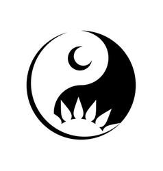 yin yang day night logo creative concept vector image