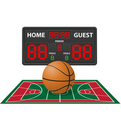 basketball sports digital scoreboard vector image