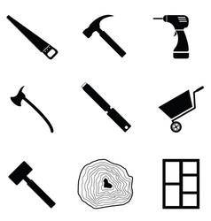 carpenter icon set vector image