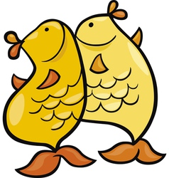 cartoon of pisces zodiac sign vector image vector image
