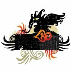 Dragons grunge design element vector image