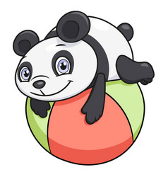 little panda playing ball vector image vector image