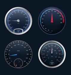 realistic detailed 3d speedometers set vector image