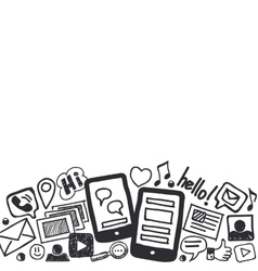 Social Media Doodles Background with Space for vector image