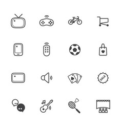 activity and entertainment line icons set vector image