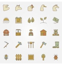 Farm colorful icons collection vector image