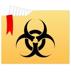File folder with bio hazard sign vector image vector image