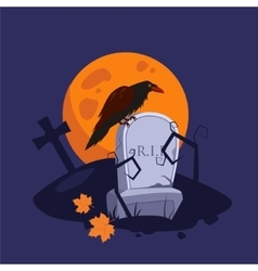 Halloween Raven Sitting on a Gravestone vector image