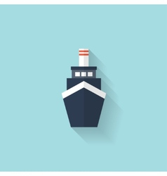 Liner ship flat web icon vector image