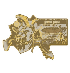 vintage urban label with pitbull vector image