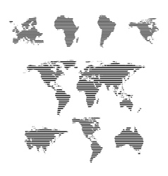 Black linear symbols set world maps on white vector image vector image