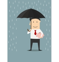 Businessman protecting money with umbrella vector image