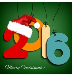 Happy New Year background 2016 with Christmas hat vector image