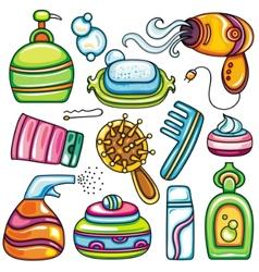 Icon set hygiene accessories vector image