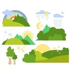 Summer Forest Flat Background Set vector image