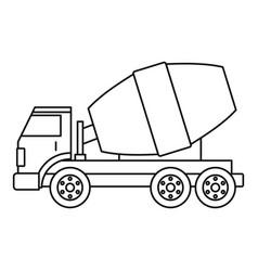 truck concrete mixer icon outline vector image vector image