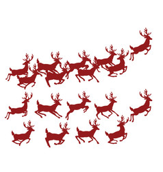 a set of silhouettes of running deer collection vector image vector image