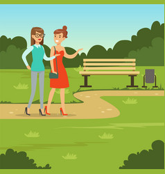 two female friends walking in the park friendship vector image