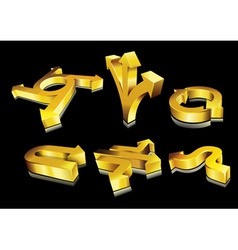 3d golden arrows vector image