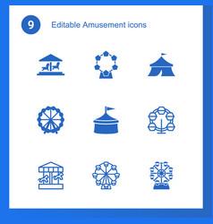 9 amusement icons vector