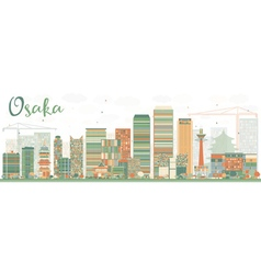 Abstract Osaka Skyline with Color Buildings vector image