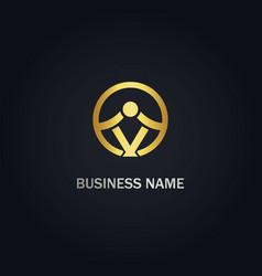 abstract v initial company gold logo vector image