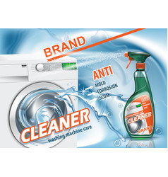 Advertising means for wash machine care realistic vector