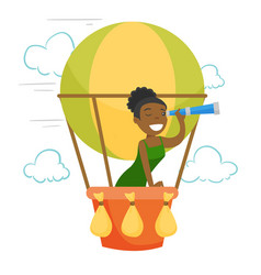african-american woman flying in hot air balloon vector image