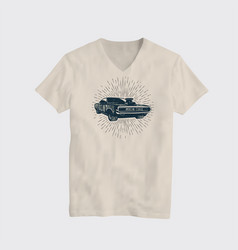 american classic muscle car t-shirt vector image