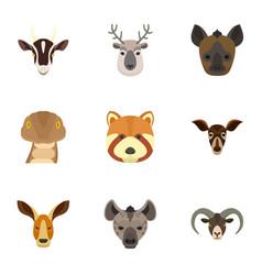 Animal icon set flat style vector