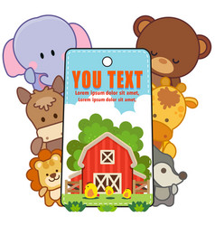 Animals farm card set with motivation vector