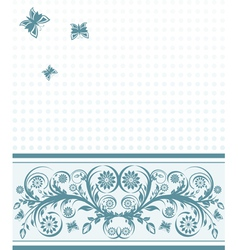 background with flower ornament and butterflies vector image