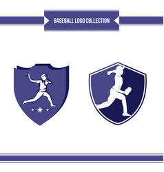 baseball player logo vector image