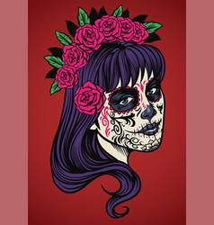 Beautiful woman wearing sugar skull make up vector