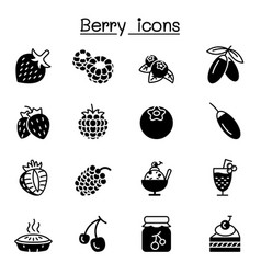 berries icon set graphic design vector image
